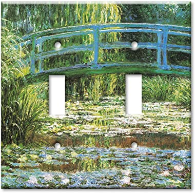 Art Plates - Double Gang Toggle OVERSIZE Switch Plate/OVER SIZE Wall Plate - Monet: Japanese Footbridge