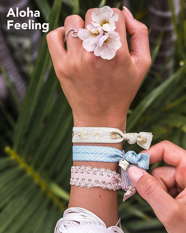 Haargummi Haarband Frauen Elastisch /& Gr/ö/ßenverstellbar Purelei/® Damen Armband Schmuck Verschiedene Muster