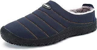 Yavero Mens Womens Plush House Slippers Slip on Snow Winter Warm Shoes Indoor Outdoor Anti-Slip