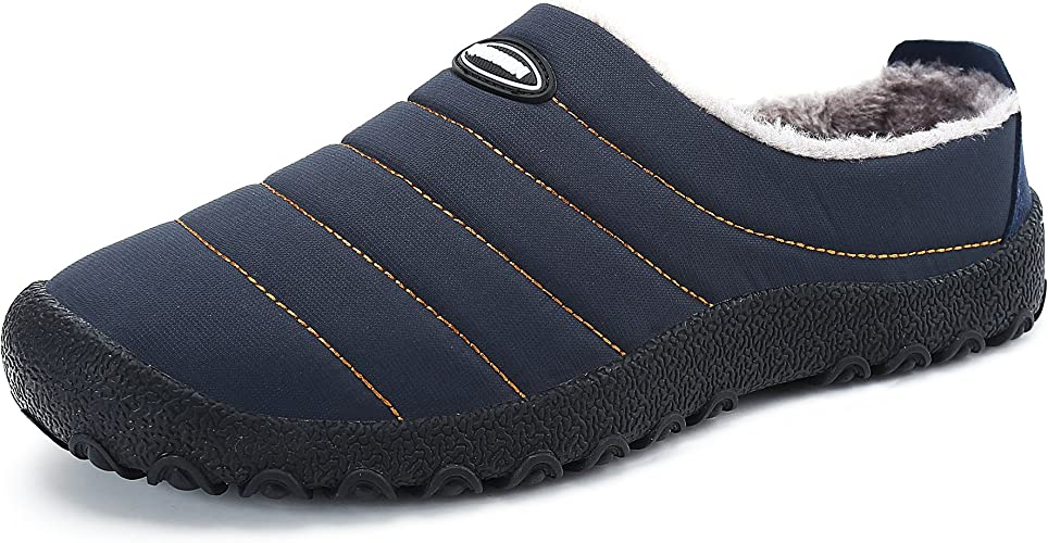 KUBUA Mens Slippers Warm Winter Flats Shoes for Womens Indoor House Slip on with Cotton Outdoor