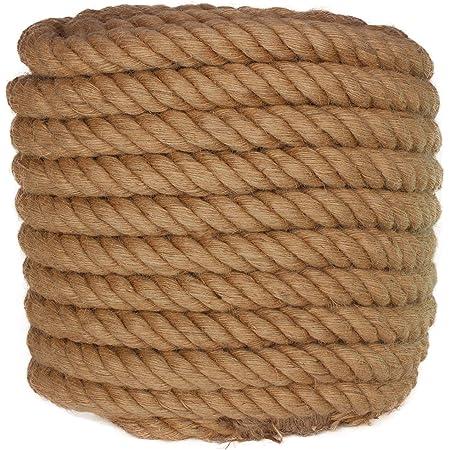 "Twisted Manila Rope Jute Rope 100 Feet Natural Jute Twine Hemp Rope 1.25 Inch(1-1/4"") Diameter Twine Burlap Rope"