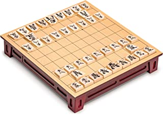 Yellow Mountain Imports Shogi Japanese Chess Game Set with Wooden Board with Drawers and Traditional Koma Pieces