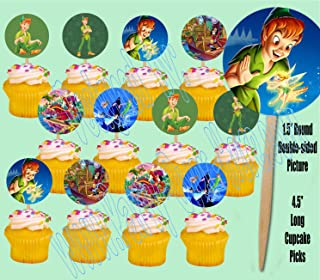 Peter Pan Tinkerbell Captain Hook Neverland Cupcake Picks Cake Toppers -12 pcs