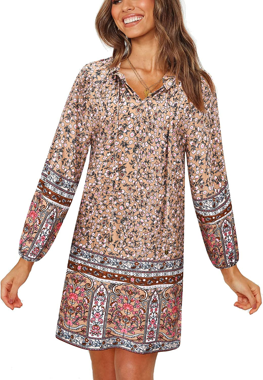 UIMLK Women's Summer Bohemian Tunic Ethnic Style V Neck Long Sleeve Swing Mini Loose Shift Dress