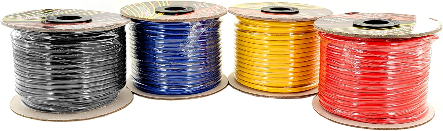 GS Power 10 Gauge Stranded Flexible Copper Clad Aluminum CCA Primary Automotive Wire for Car Audio Video Amplifier 12 Volt Trailer Harness Hookup Drone Model Train Wiring. 100ft Red & 100 ft Black: Automotive