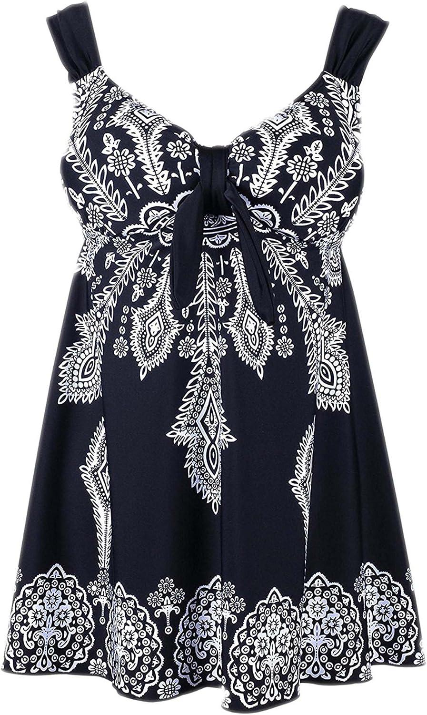Angelique Plus Size Retro Print Pin Up Swimdress Style Swimsuit Tankini Set