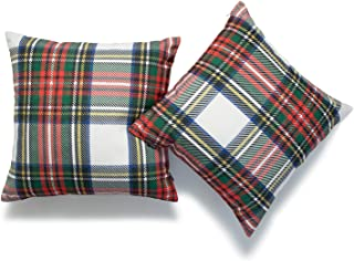 Hofdeco Decorative Throw Pillow Cover ONLY, Gray Classic Stewart Scottish Tartan Plaid (Canvas), 18