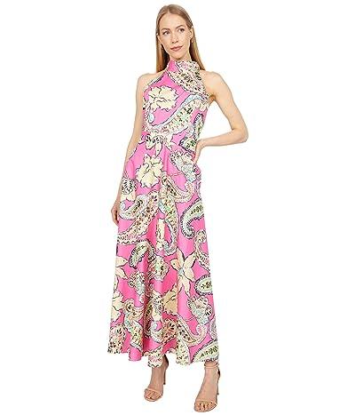 Tahari by ASL Mock Neck Printed Paisley Poplin Maxi Dress Women