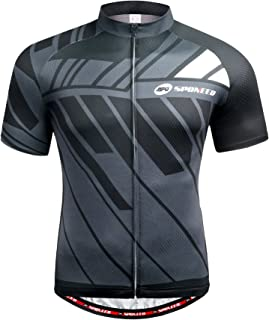 sponeed Men's Cycling Jerseys Tops Biking Shirts Short Sleeve Bike Clothing Full Zipper Bicycle Jacket with Pockets