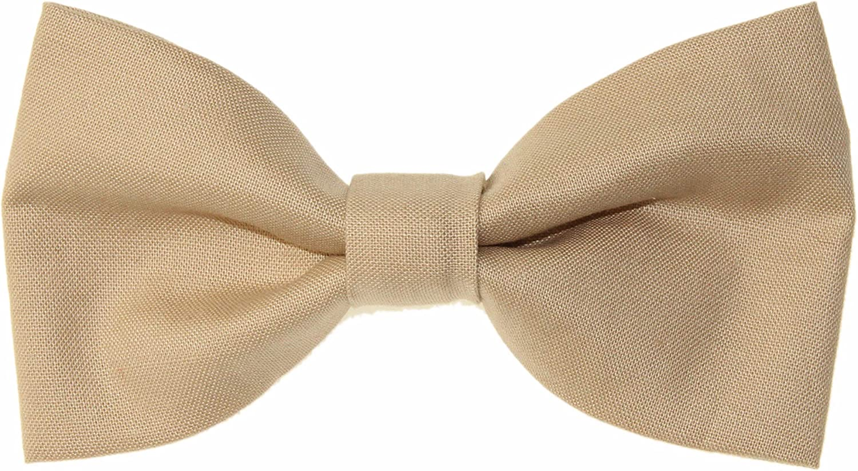 Men's Khaki/Beige Clip On Cotton Bow Tie Bowtie by amy2004marie