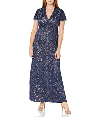 Alex Evenings Long V-neck Fit and Flare Dress Lace