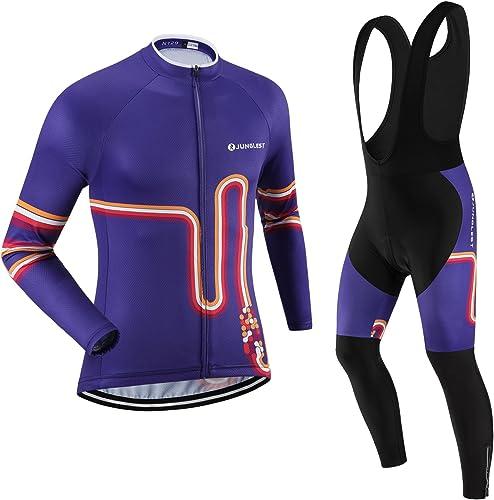 JNL Maillot de Cyclisme Homme Manches Longues Jersey(S5XL,Option Cuissard,3D Coussin) N129