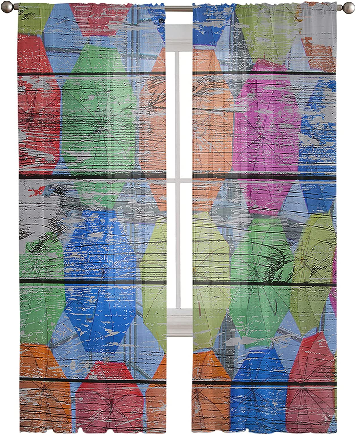 Rod Pocket Outlet sale feature Free shipping on posting reviews Semi Sheer Curtains Colorful Wooden B Umbrella Old On