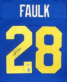 Signed Marshall Faulk Jersey - Blue Stock #152101 - PSA/DNA Certified - Autographed NFL Jerseys