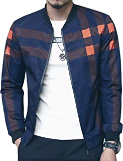 Men's Bomber Jacket Casual Slim Fit Printed Outerwear Coat