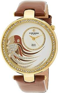 Women's 'Lady Diamond' Parrot Dial - Swiss Quartz Watch Genuine Crystals On Bezel On Genuine Leather Strap - AK602