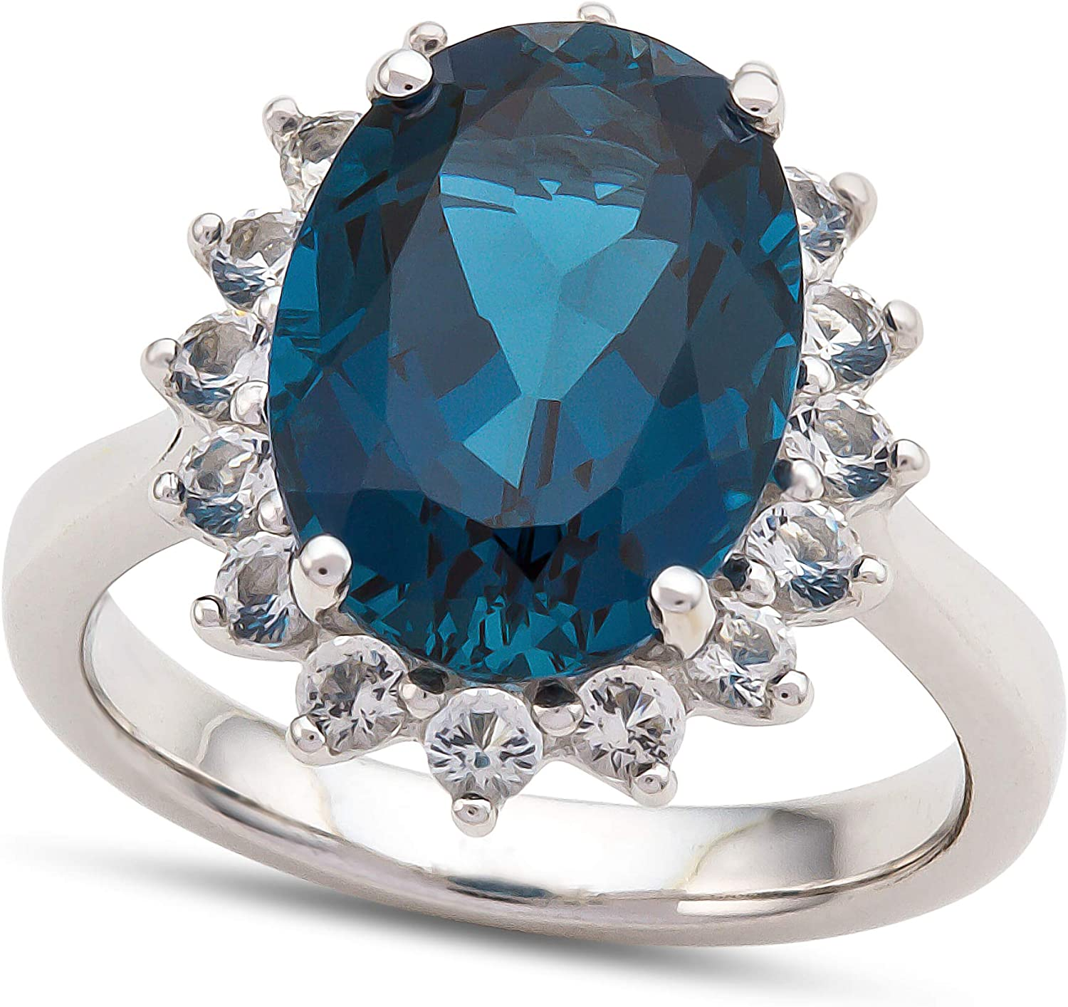 Finejewelers NEW 14x10mm Oval Don't miss the campaign London Blue White Halo Topaz and
