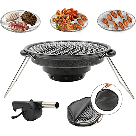 BBQMM Charcoal Korean BBQ Grill Outdoor Portable BBQ Grill, Stainless Steel with Air Blower and Carry Bag