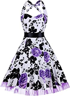 788cba3508f7e oten Women Vintage Polka Dot Floral 1950s Halter Rockabilly Cocktail Party  Dress