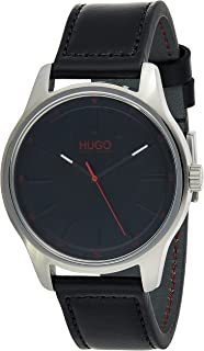 Hugo Boss Men's Black Dial Black Leather Watch - 1530018