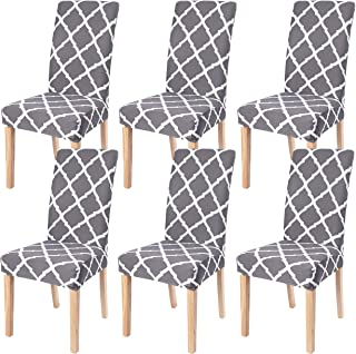 Dining Room Chair Covers Slipcovers Set of 6, SearchI Spandex Fabric Fit Stretch..