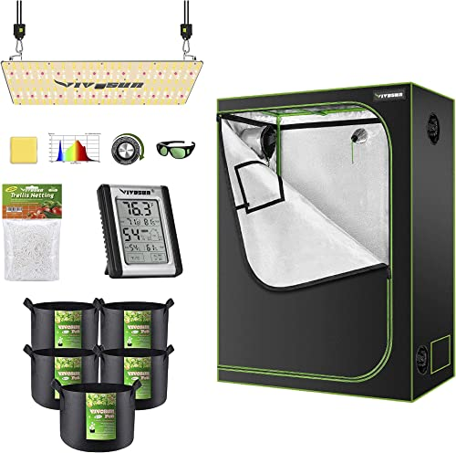 """2021 VIVOSUN 48""""x24""""x60"""" Mylar Hydroponic Grow Tent Complete Kit with VS2000 LED Grow Light, Glasses, Grow outlet online sale Bags, wholesale Trellis Netting, Thermometer and Hygrometer sale"""