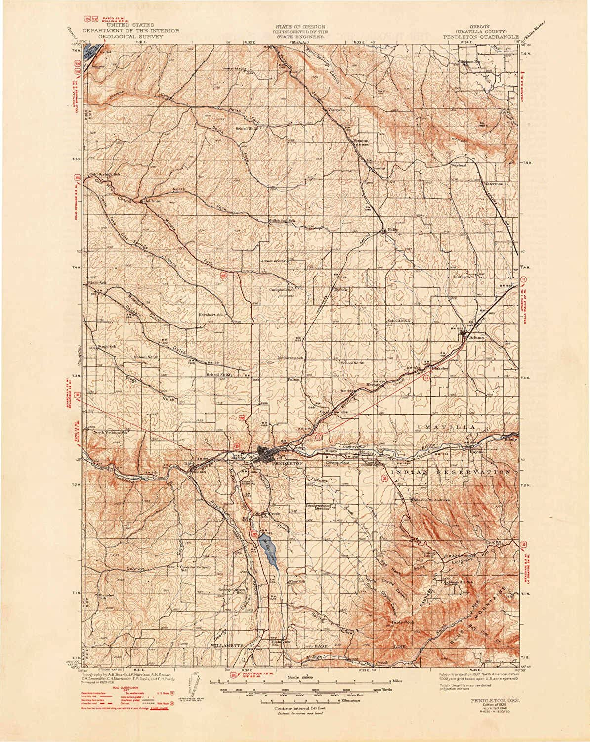 Pendleton OR topo map, 1 125000 Scale, 30 X 30 Minute, Historical, 1935, Updated 1948, 20.8 x 16.6 in