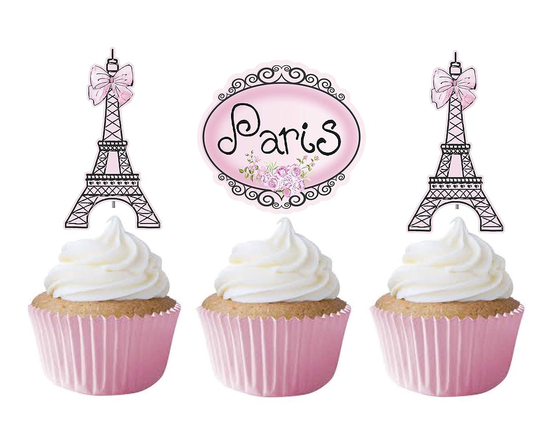 Amazon Com Paris Cupcake Toppers 12 Pcs Pink Ooh La La Cake Picks Birthday Decoration Party Supplies Eiffel Tower Baby Shower Wedding Bachelorette Handmade Products