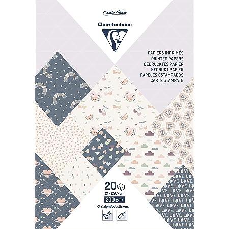 Clairefontaine 95818C Bloc de 20 Feuilles à Motifs en Papier Cartonné 200g + Stickers Alphabet + Étiquettes à découper - Format A4 (21x29,7cm) – Papier Scrapbooking Loisirs Créatifs - Little love