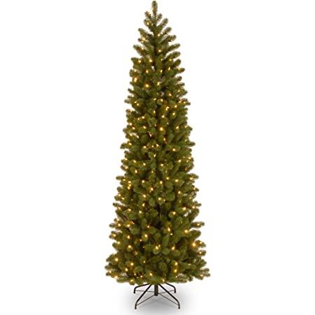 National Tree Company 'Feel Real' Pre-lit Artificial Christmas Tree   Includes Pre-strung 10 Function Multi-Color LED Lights and Stand   Downswept Douglas Fir Slim Slim - 7.5 ft