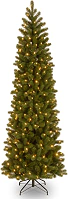 National Tree Company 'Feel Real' Pre-lit Artificial Christmas Tree | Includes Pre-strung 10 Function Multi-Color LED Lights and Stand | Downswept Douglas Fir Slim Slim - 7.5 ft