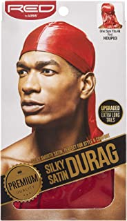 Kiss Red Durag Silky Satin Red Extra Long Tails (12 Pieces)