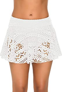 GRAPENT Women's Crochet Lace Skirted Bikini Bottom Short Swim Skirt Swimsuit