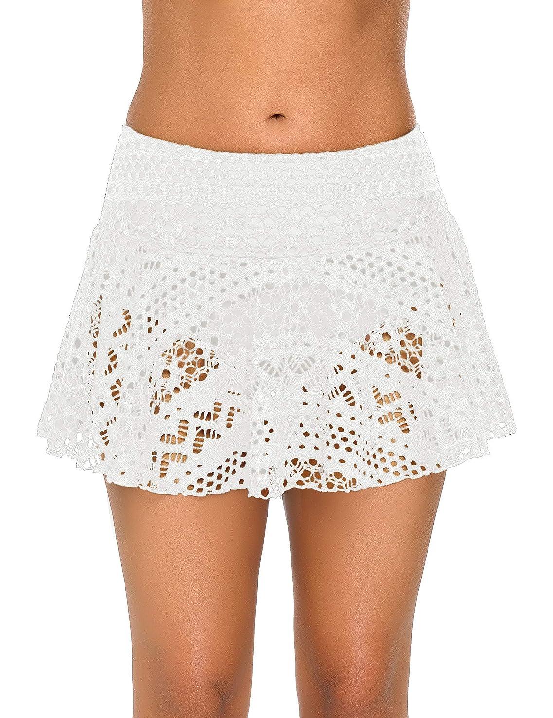 GRAPENT Women Crochet Lace Skirted Bikini Bottom Solid Short Swim Skirt Swimsuit