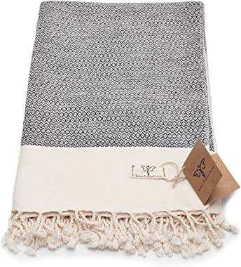 Smyrna Original Turkish Throw Blanket | 100% Cotton, 50 x 60 Inches | Vintage Decorative Boho Throw Blankets for Couch, Sofa,