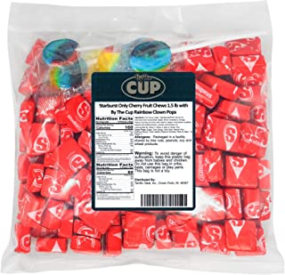 Starburst Only Cherry Fruit Chews 1.5 lb with By The Cup Rainbow Clown pops