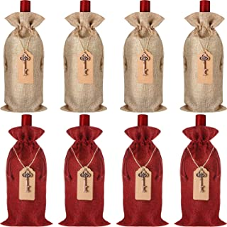 8 Pieces Jute Burlap Wine Bags, 13.78 x 5.91 Inches Reusable Wine Bags with Key Bottle Openers,Tags And Cotton Ropes
