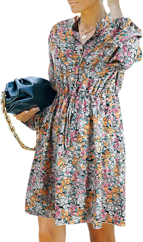Theenkoln Women Dresses Summer Casual Long Sleeves Floral Button Down V Neck Boho Mini Sun Dress