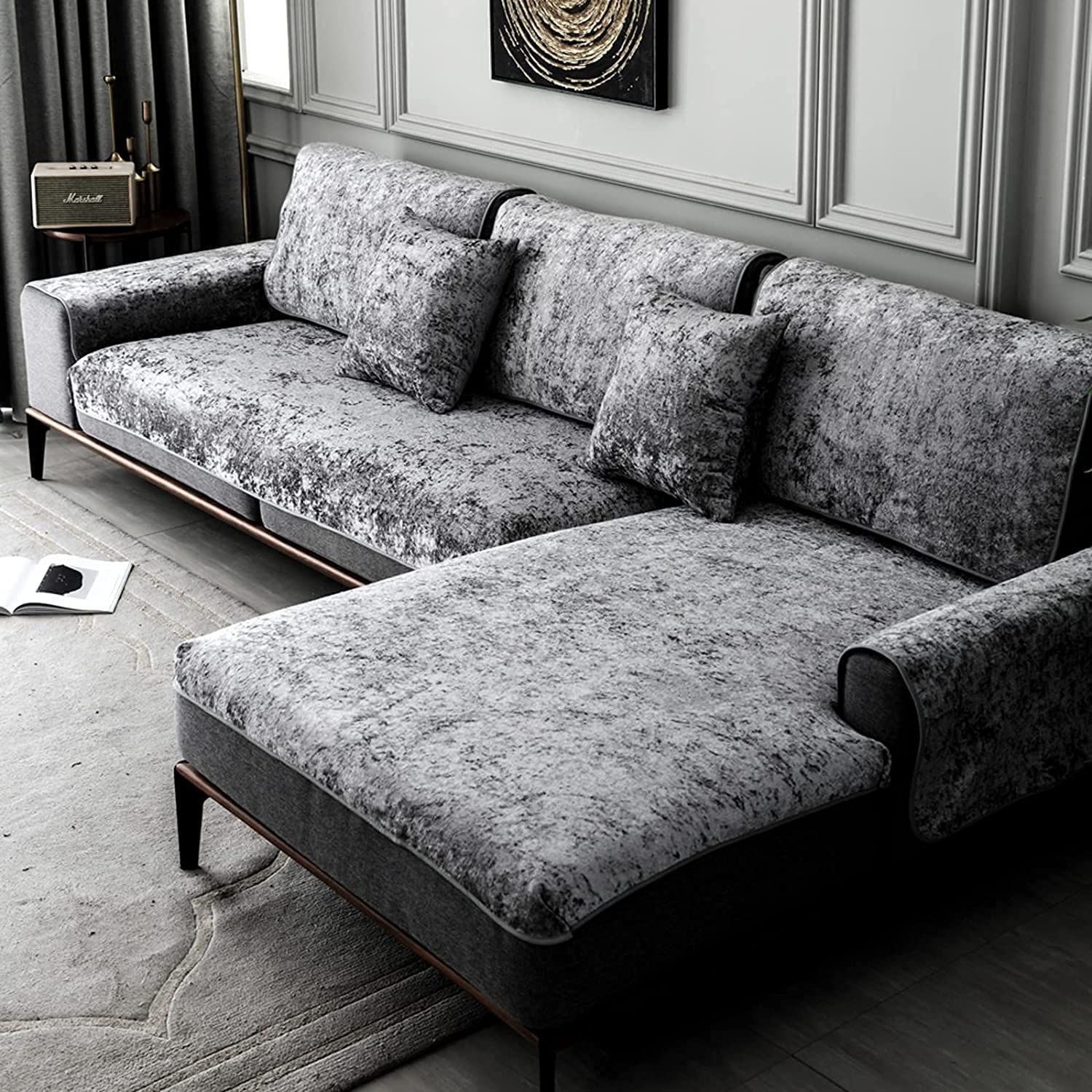 ZYZCJT 100% Spring new work Waterproof Inexpensive Jacquard Suede Slipcover Sofa