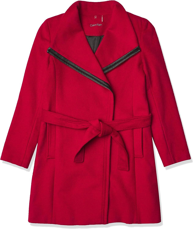 Calvin Klein Womens Belted Wool Coat Wrap Bombing Bargain free shipping
