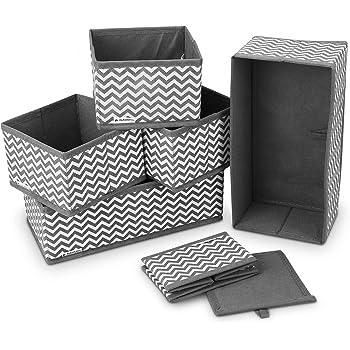 Navaris 6X Caja de Tela para almacenaje - Set de 6X Cubo Plegable Organizador de cajones - Cajas para Almacenamiento de Ropa Juguetes - Gris y Blanco: Amazon.es: Hogar