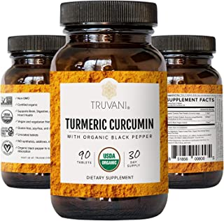 TRUVANI Organic Turmeric Curcumin (1,350mg) | Turmeric Root Powder - with Black Pepper for Improved Absorption | Anti-Infl...