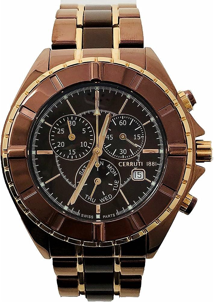 Cerruti 1881,orologio ,cronografo per uomo,in acciaio inox placcato con oro rosa CRWA006M231G