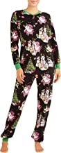 Womens Christmas Cat Dropseat Union Suit Pajamas Pjs (S 4-6)