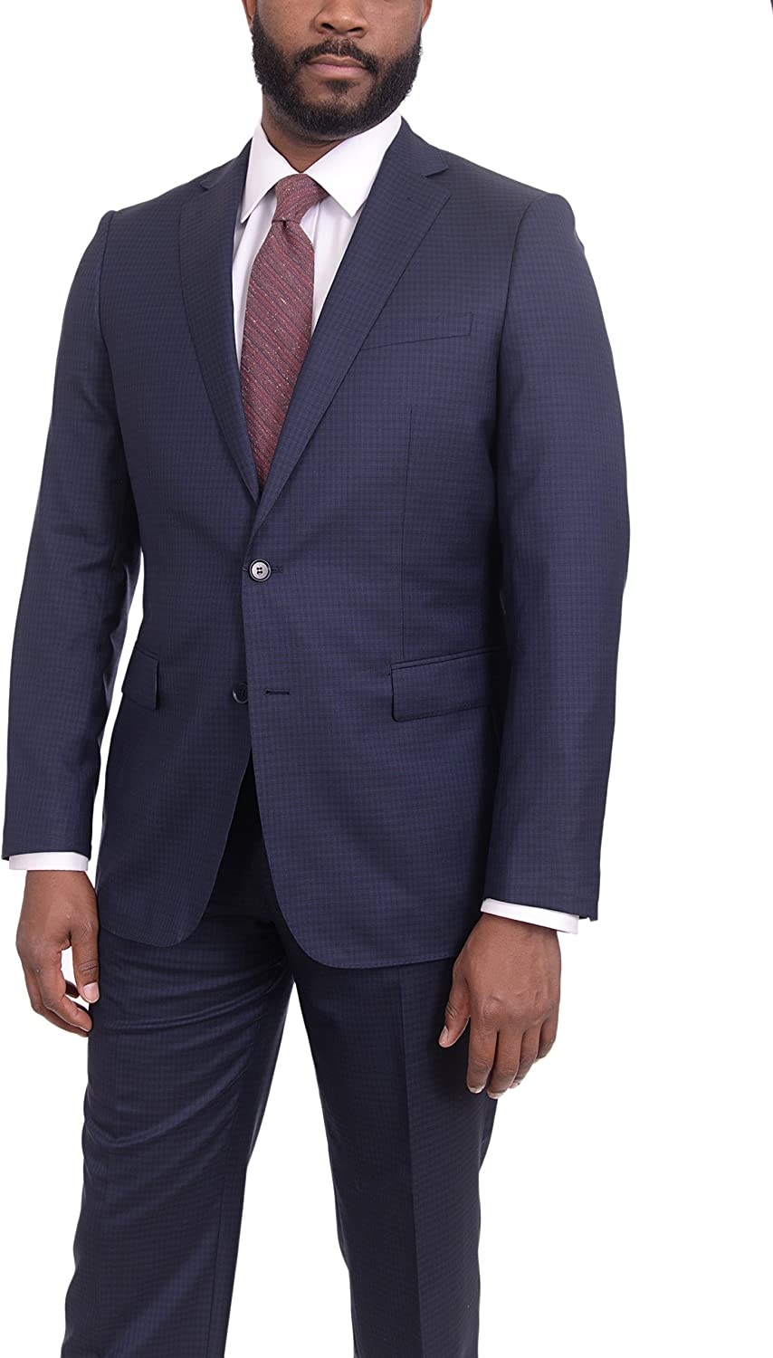 Mens Modern Fit Navy Blue Check Popular products Suit 150s Wool Max 55% OFF Two Super Button