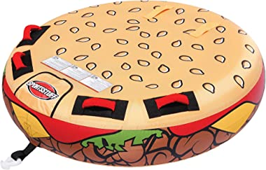 SportsStuff Cheeseburger Towable | 1 Rider Towable Tube for Boating, Brown, Beige, Red