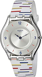 Swatch Archi-Mix Quartz Silicone Strap, White, 16 Casual Watch (Model: SFE108)
