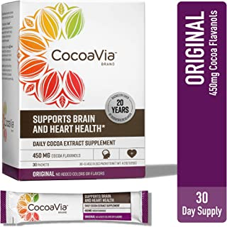 CocoaVia Heart and Brain Supplement, Original Flavor Drink Mix, 450 mg of Cocoa Flavanols to Support Heart Health, 30 Serv...