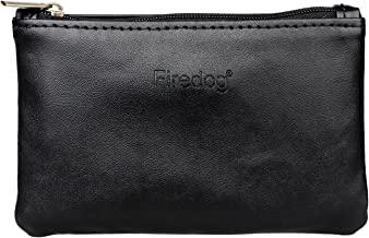 Firedog(TM) Tobacco Pouch Bag Pipe Case Rolling Handmade Storage Carrying Travel Vintage Holder Rollup Free Ciggerate Smoking Tobacco Pouch Leather Zipper Black Regular Size