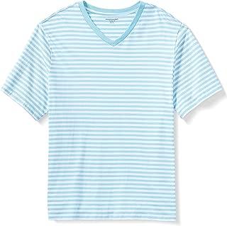 Amazon Essentials Men's Big & Tall Short-Sleeve Stripe V-Neck T-Shirt Shirt, Aqua/White, 3XL